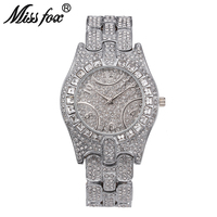 Miss Fox C Luxury Women Watch High Quality Rhinestone Crystal Wristwatch Gold Plated Waterproof Famous Brand