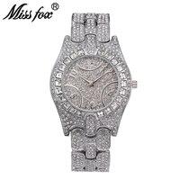 Miss Fox C Luxury Women Watch High Quality Rhinestone Crystal Wristwatch Gold Plated Waterproof Famous Brand