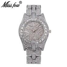 Мисс Фокс C Роскошные Женщины Часы Высокого Качества Горный Хрусталь Кристалл Наручные Часы Позолоченные Водонепроницаемый Известный Бренд Леди Кварцевые Часы