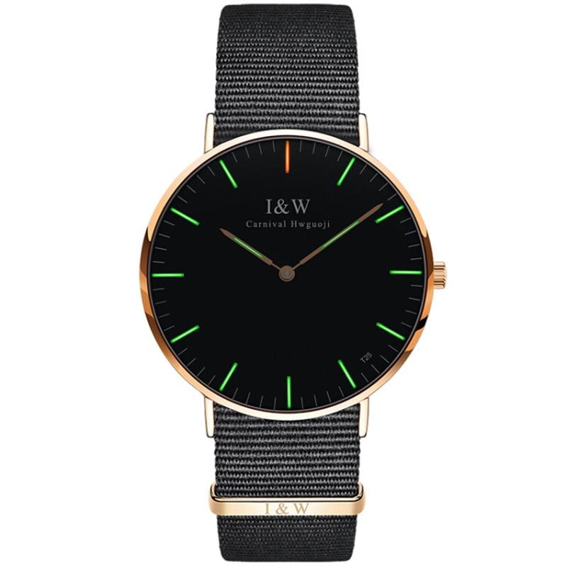 где купить Carnival Quartz Watch Men T25 Tritium Luminescence Ultra-Thin Case Sapphire Glass Nylon Strap Fashion Clock Relogio Masculino по лучшей цене