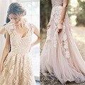 2016 Anna Campbell Vestido de Casamento Do Laço Do Vintage Sexy Boho Vestidos de Casamento Tulle Robe De Mariage Vestidos de Noiva Vestido De Noiva