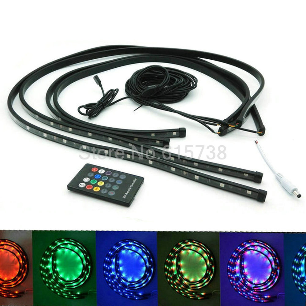 3624 5050 smd Undercar Underglow Kit Colorful LED Strip Under Car Tube Strip Light Under Car Body Glow Light Tube 7 colors car styling 7 color led strip under car tube underglow underbody system neon lights kit ma8 levert dropship
