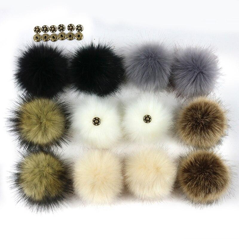 5 PCS DIY Hats Accessories False Hairball Ball Pom Pom Handmade Artificial Wool Ball Wholesale Faux Fox Fur PomPom With Buckle