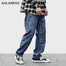 Aolamegs Biker Jeans rasgados para hombres oscuro sólido Pantalones Hombre  Pantalones vaqueros ajustados holgados algodón Denim e568e9452ae