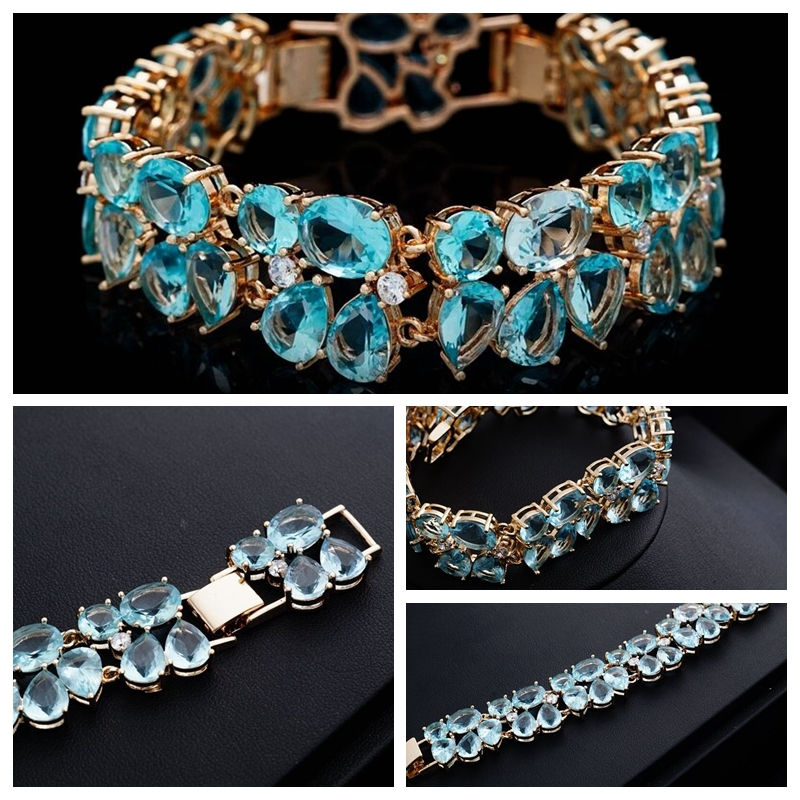 Luxury Charms Bracelets & Bangles For Women Gold Color Light Blue Full Crystal Zircon Bangles Water Drop Wedding Jewelry