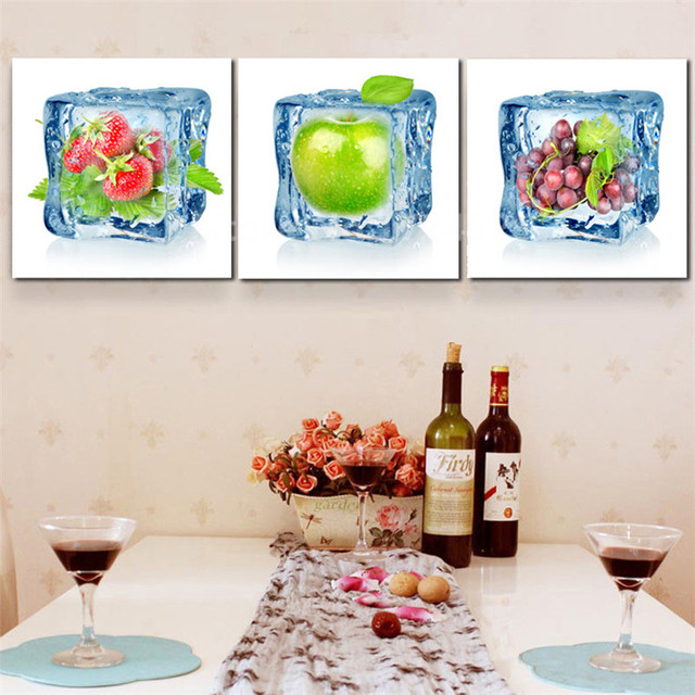 Canvas Wall Art Painting Contemporary Artwork Ice Fruits Art Decor For  Living Room Home And Kitchen