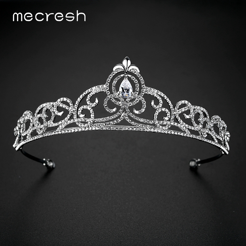 Mecresh Romantic Heart CZ Crown and Tiara For Women Charm Clear Crystal Plant Wedding Hair Accessories 2017 Party Jewelry MHG127
