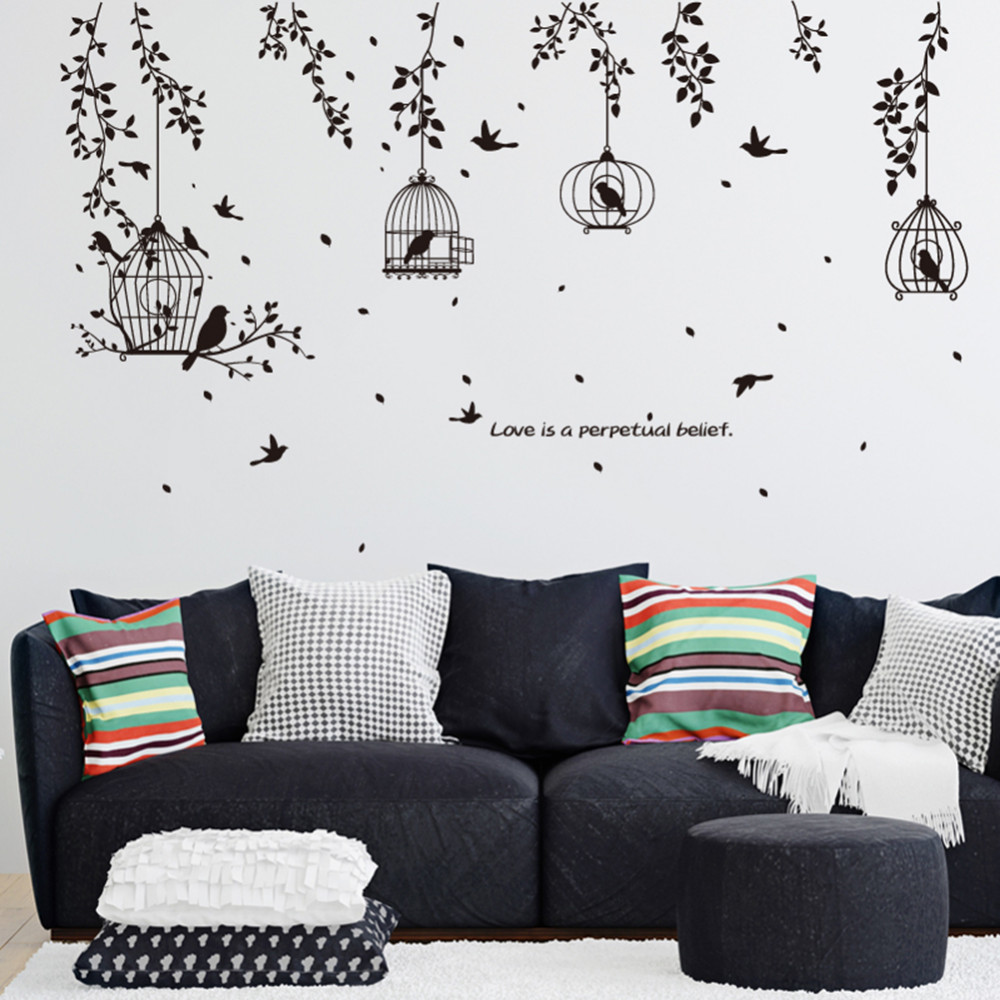 DIY Black PVC Wall Stickers Hanging Bird Cage Art Decals Living Room ...