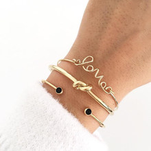 Tocona 3pcs/Set Fashion Bohemia Letter Knot Hand Cuff Chain Charm Bracelet Bangle for Women Bracelets Femme Jewelry 6387(China)