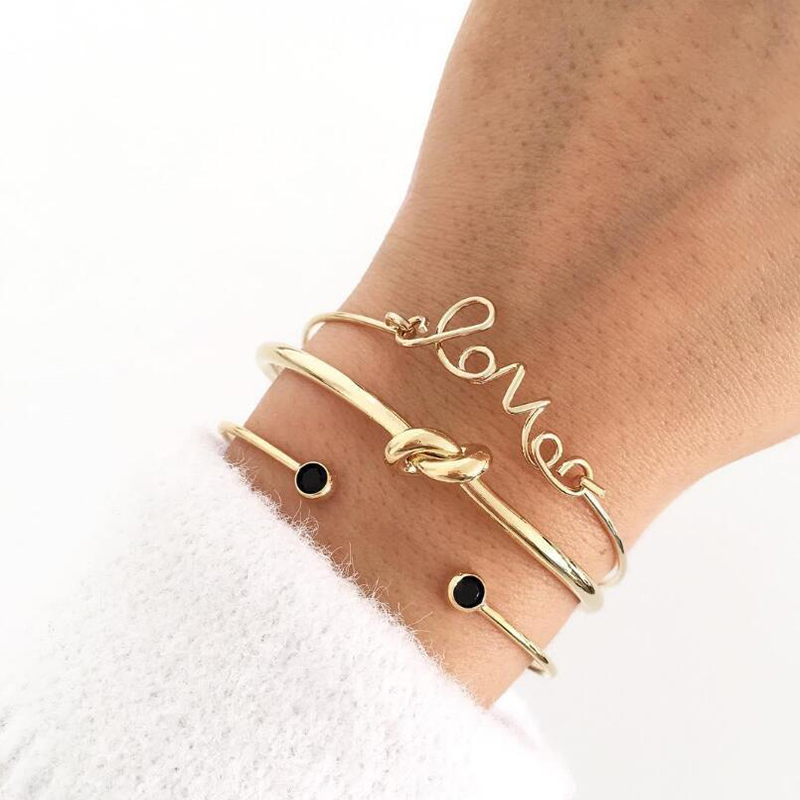 Tocona 3pcs/Set Fashion Bohemia Letter Knot Hand Cuff Chain Charm Bracelet Bangle for Women Bracelets Femme Jewelry 6387
