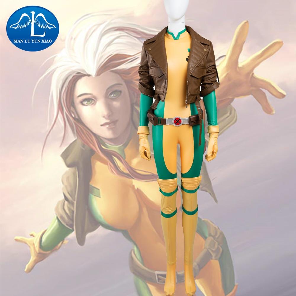 MANLUYUNXIAO Nuovo X-Men Rogue Mary Cosplay Costume Deluxe Vestito di Carnevale Del Partito Cosplay Costumi Per Le Donne di Prezzi di Fabbrica