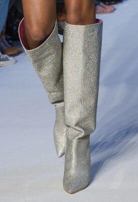 Slip Botas Genou As Arrivée Bottes Cuir Pointu Dos Mode Sur Haute as Femmes De Show Bling Papillon Longue Chaussures Le En Bout Show noeud Nouvelle Paillettes Défilé ZxzgPqg1n