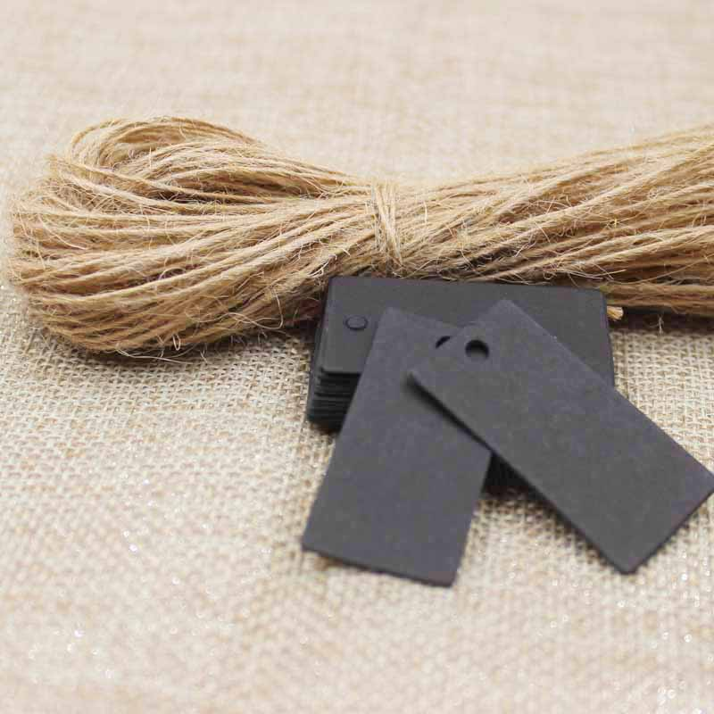 Retrospective Lovely Small Cute Party Decoration Paper Cards Kraft /black Gift Tag Hang Tag 200pcs +200 Hemp String