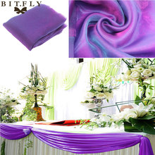 Champagne 5M*1.35m Organza fabric Wedding Decoration table top swag curtain Party Chair Sash Bow Table Runner Swag table skirt(China)