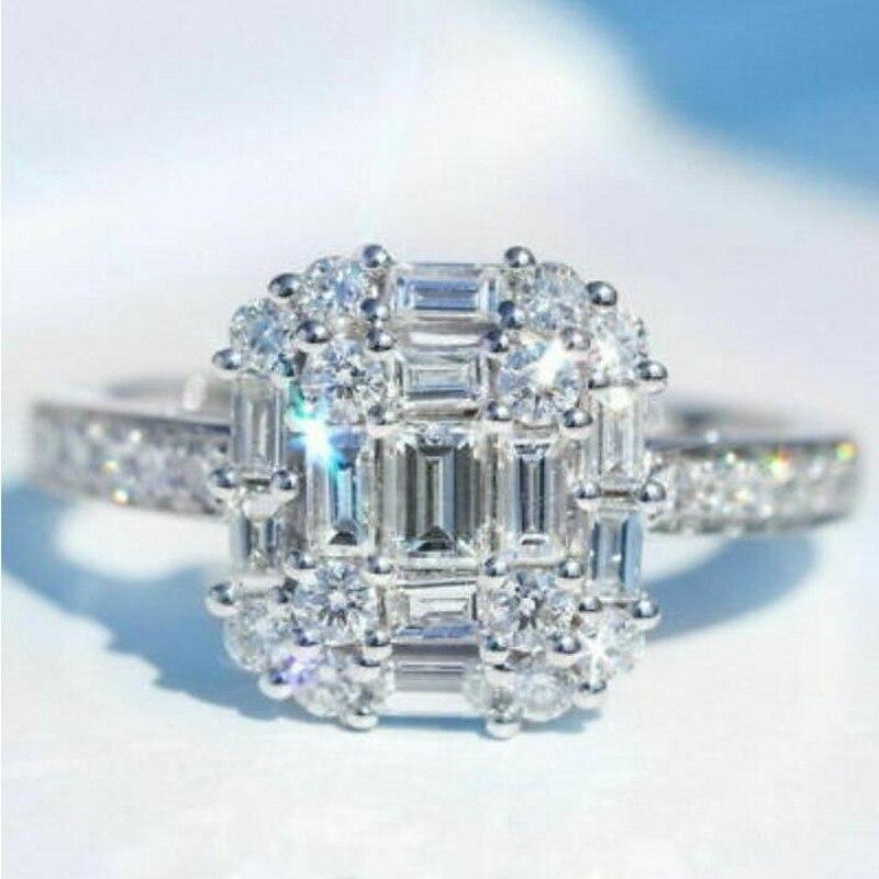 Infinity tout nouveau bijoux de luxe 925 en argent Sterling T princesse coupe blanc clair 5A cubique zircone femmes bague de mariage cadeau - 2