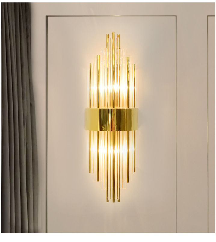 Creative Golden Luxury Indoor Living Room Crystal Wall Lamp Bedside Lamp Led Post Modern Classic Hotel Aisle Corridor Light LED Indoor Wall Lamps     - title=