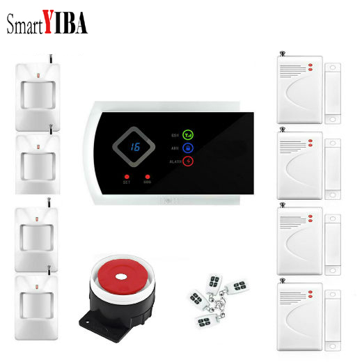 SmartYIBA APP Control Wireless Door/window Sensor Burglar Alarm PIR Motion Alarm Kits Home Security Alarma GSM SMS Alarm wifi gsm home security alarm system ios android control rfid keypad 433mhz wireless intelligent door window sensor pir sensor