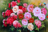 New arrival diy diamond painting 5d diamond painting peony round drill blooming flowers needlework