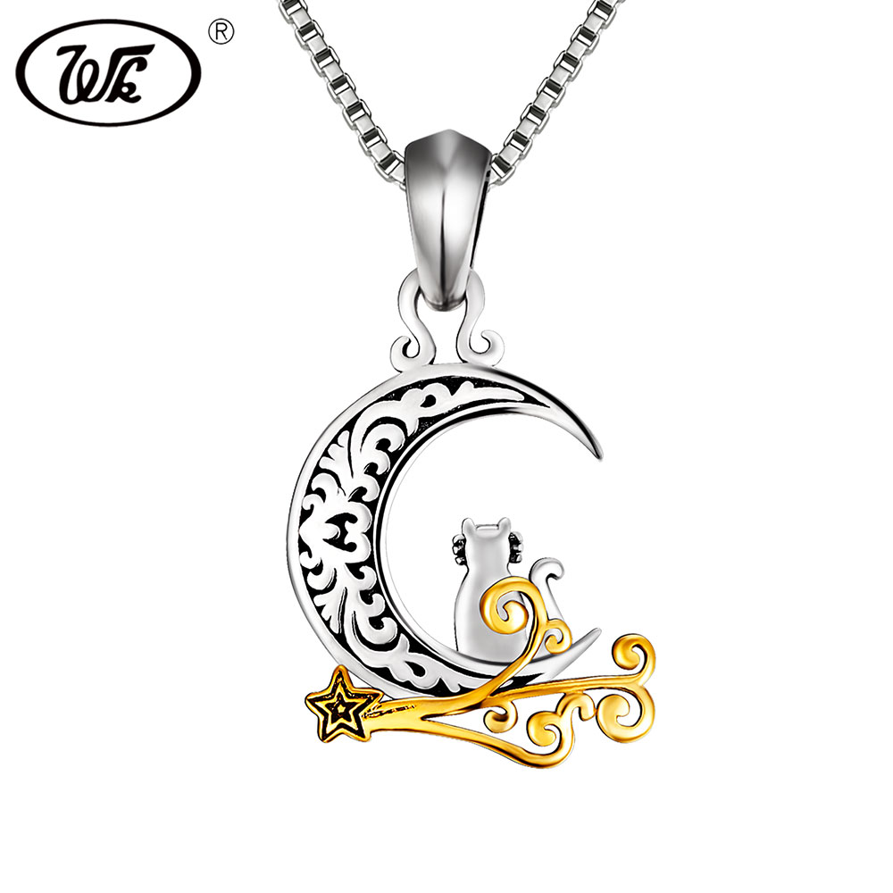 WK 925 Thai Silver Vintage Cat Moon Necklace Women Girls Ladies Chic Crescent Animal Pet Pendant Retro Jewelry Gift 18
