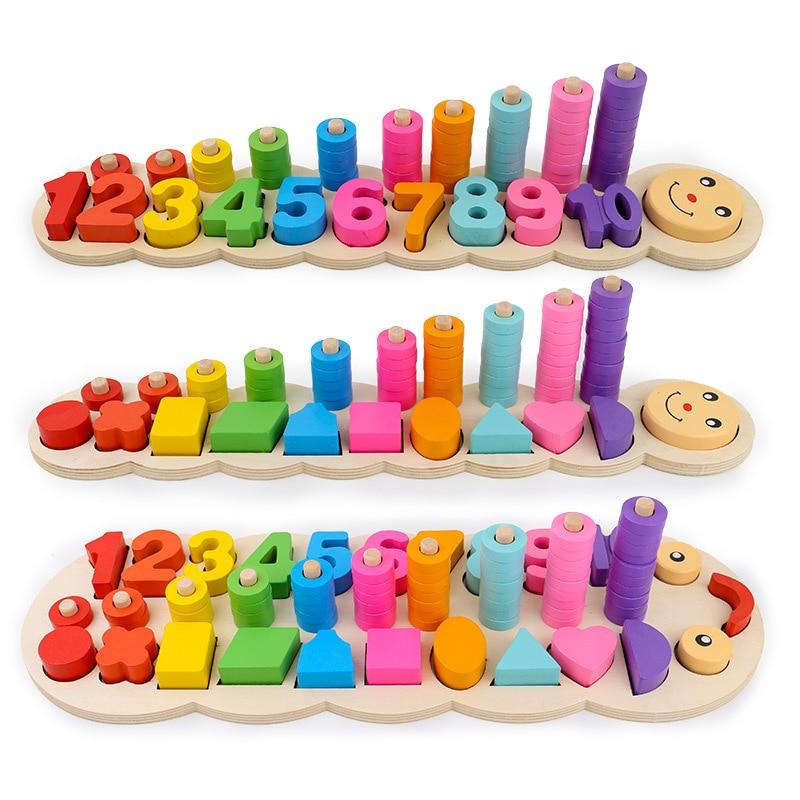 Montessori colorido los niños de preescolar enseñanza niños contando y de placa apilable de madera juguete matemáticas Aprendizaje de juguetes educativos