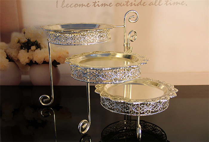 3 Tier Iron Cake Stand with 3 Dish Silvery Cupcake Holder Desserts - Kitchen, Dining and Bar - Photo 2