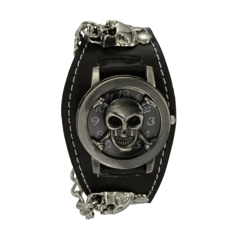 Punk Style Chain Skull Band Gothic Wrist Watch for Men Synthetic Leather Stainless Steel Sport Quartz Watches Bracelet Cuff mjartoria 2017 men punk skull watch student male cool leather belt sport quartz watch wrist watch quartzwatch punk rock clock