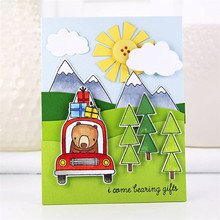 Driving Bear Gift Box Tree Sun Metal Cutting Dies and Clear Stamps for Scrapbooking New 2019 Die Cuts for Card Making Stitch(China)
