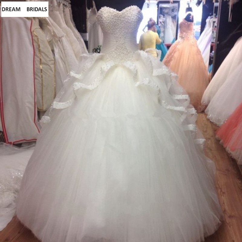 Customized Ball Gown Heavy Pearls Quinceanera Dresses 2019 Vestidos De 15 Anos White Organza Ruched Vestidos Long