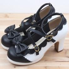 2016 Nouvelle Lolita filles couleurs de sucrerie confortable chaussures sorts couleur arc sangles croisées imperméables à talons hauts cosplay femmes chaussures