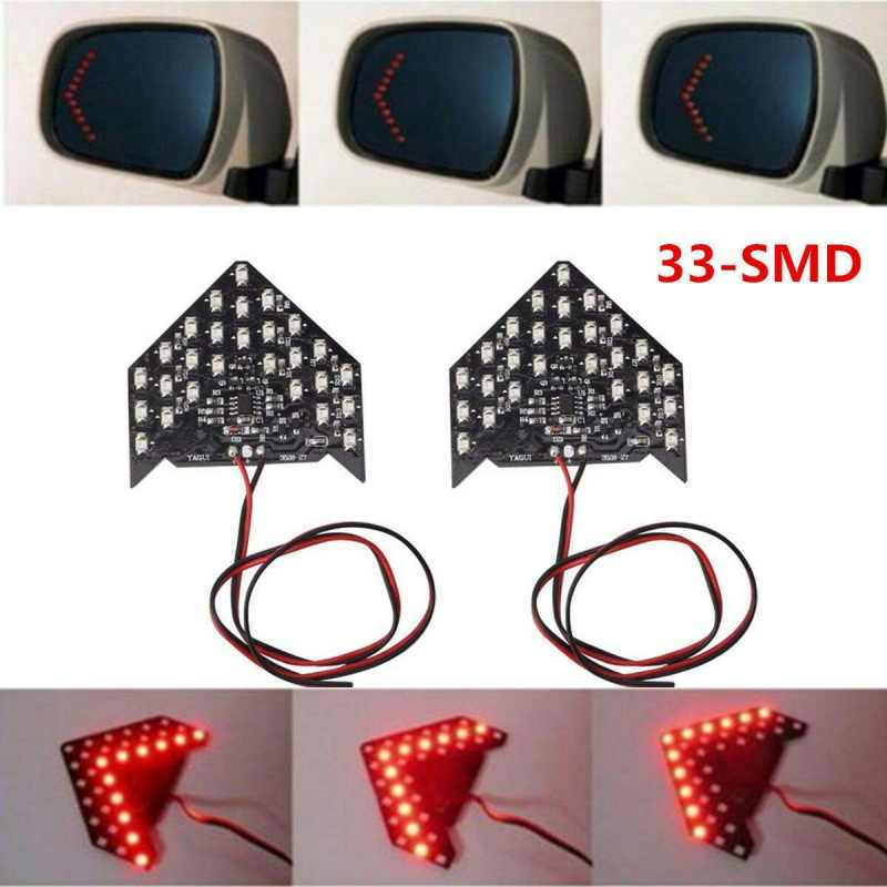 2019 33SMD Sequential Led Dynamische Pijlen Led Arrow Panel Voor Auto Achteruitkijkspiegel Indicator Richtingaanwijzer Auto Led