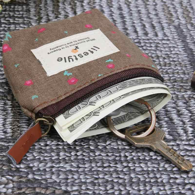 Dames Retro Canvas Kleine Portemonnee Kleine Bloemen Sleutel Auto Pouch Geld Tas Meisje Mini Coin Wallet