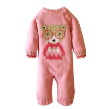 Warm Baby Sweater Romper With Bear Costume Spring Winter Knitted 1st Birthday Outfits Cute Animals Long Sleeve Pink Gray Red