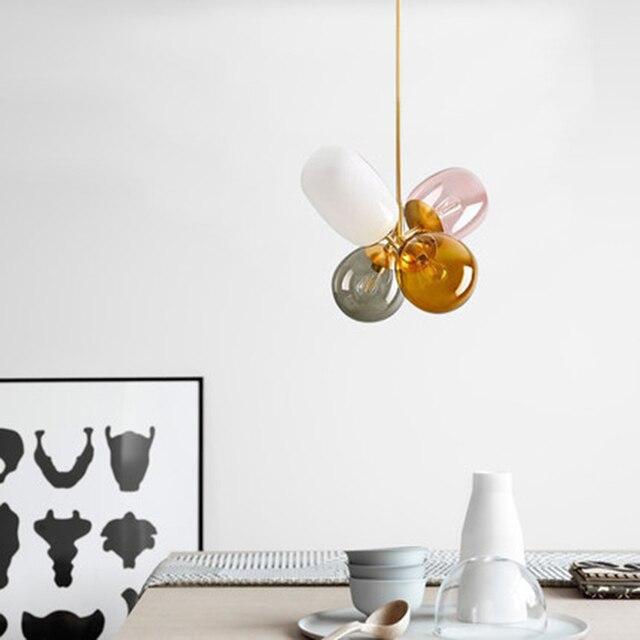 Nordique vitrail pendentif lumières éclairage moderne pendentif LED lampes salon chambre Restaurant cuisine luminaires Luminaire