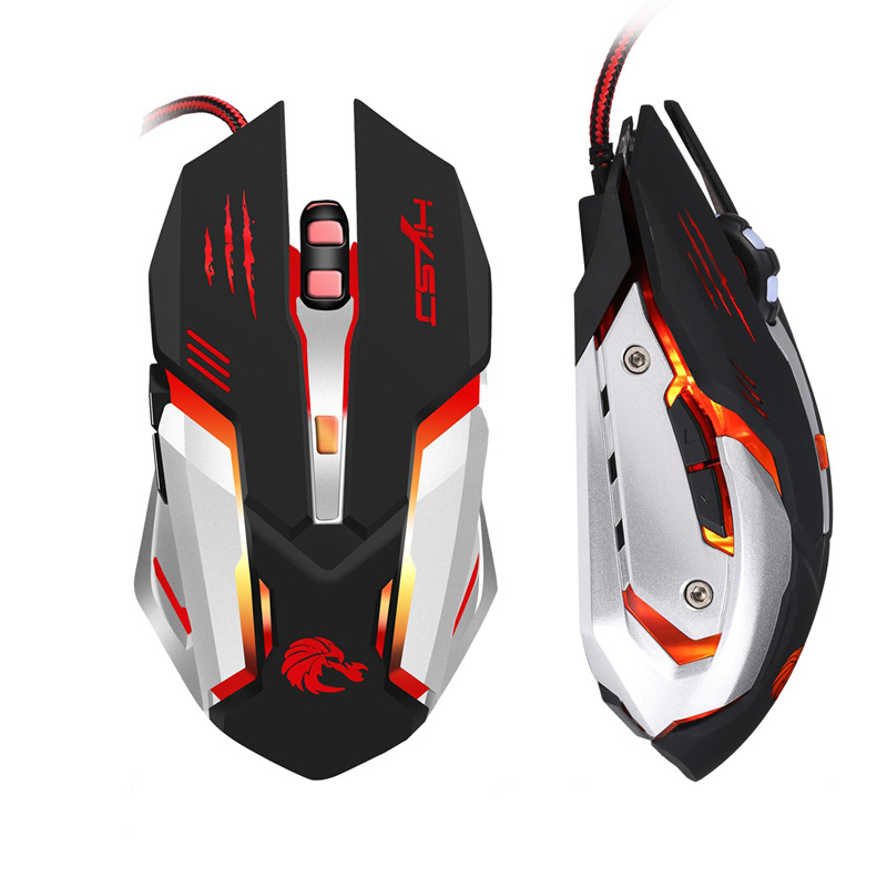 HXSJ 5500 DPI 6 Pulsanti 7 Colori Effetto Optical Gaming Mouse regolabile DPI USB Wired Mouse Del Computer Gamer Mouse Per PC Desktop