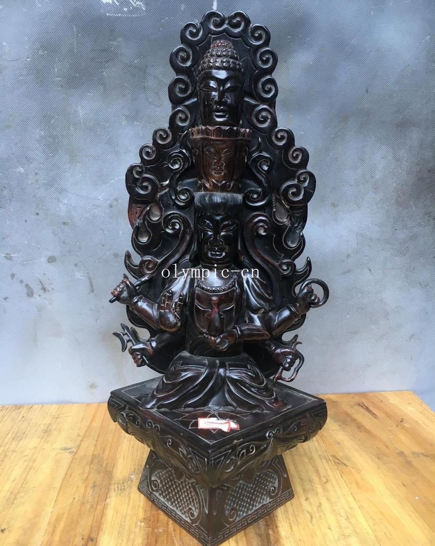 12Real del corno del bue artigianato scolpito tre testa sei armGuanyin Avalokitesvara12Real del corno del bue artigianato scolpito tre testa sei armGuanyin Avalokitesvara
