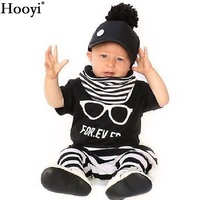 Hooyi 2018 Baby Boy Clothes Set Glass For Ever Children Black T-Shirt White Stripe Pant Suit Kids Outfit 100% Cotton Summer Tops