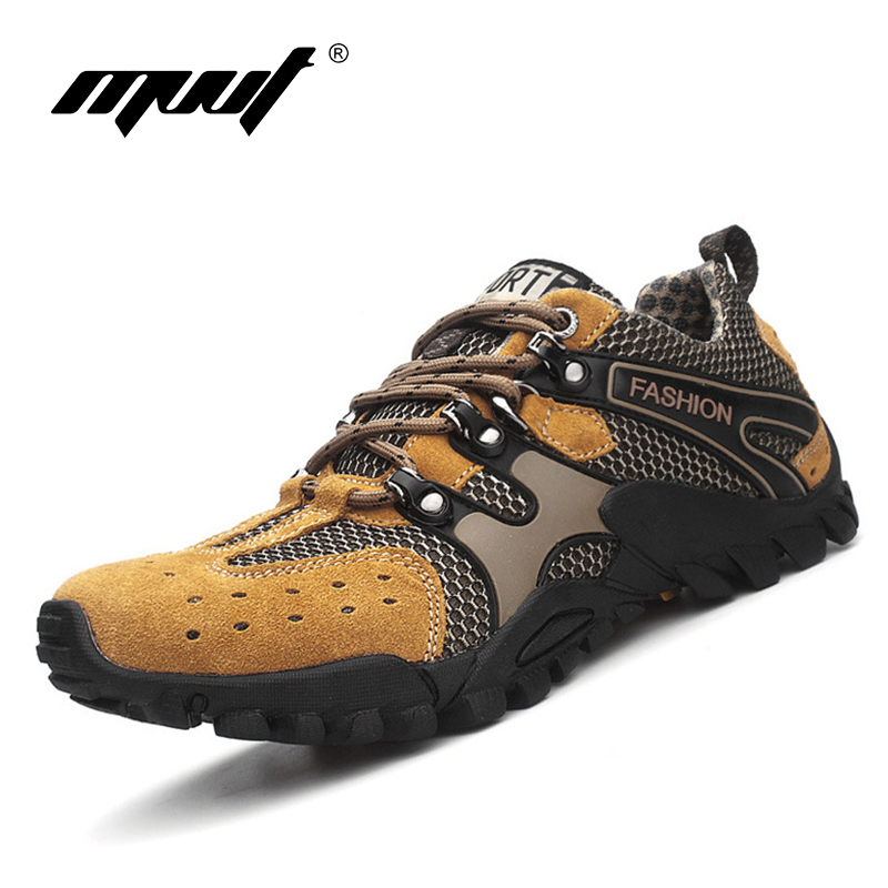 Visoka kvaliteta Muškarci planinarske cipele Ljeto Pravi Koža mrežaste cipele na otvorenom Super prozračne penjanje cipele trekking