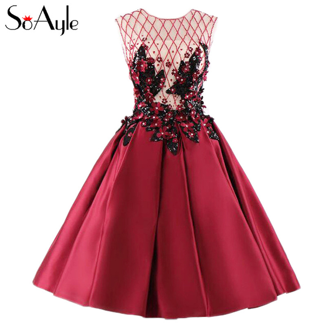 5dfab8d115d SoAyle 2017 A-Line Round Neck Rhombus Beaded Short Mini Satin Flower  Crystals Wine Red Prom Dresses Real Photo Vestidos De Festa
