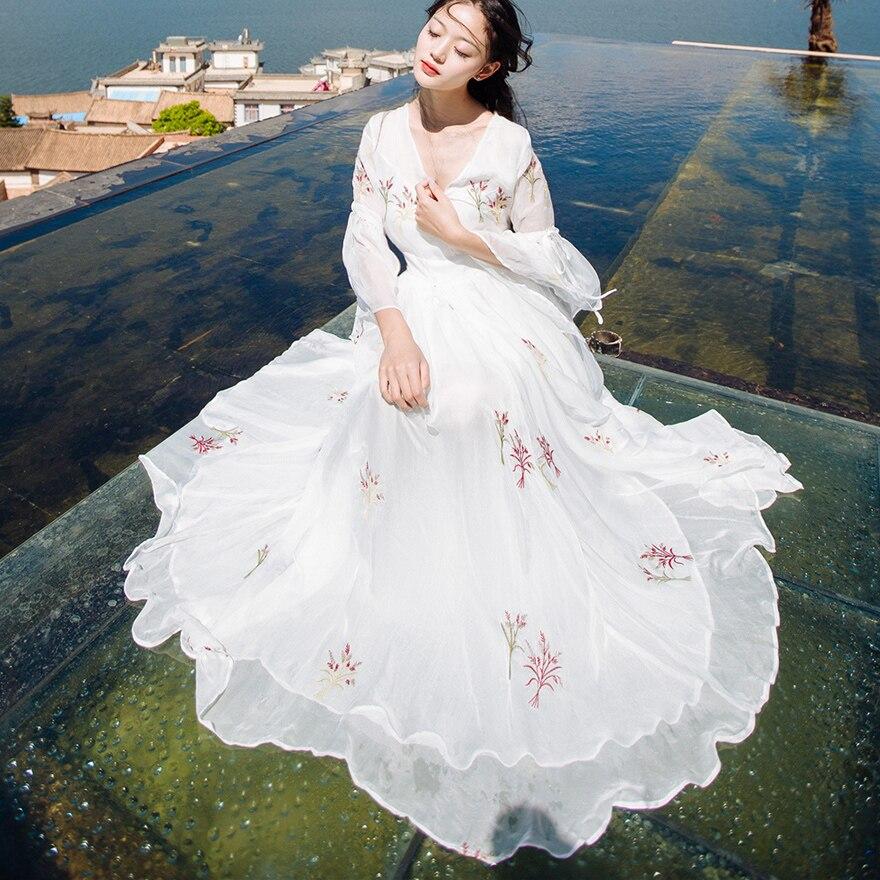 2018 été nouveau Phoenix broderie fée robes douce princesse Vintage longue robe femmes coton et lin robe de plage, A108