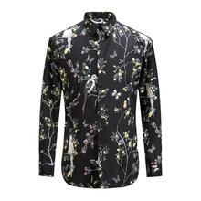 Plus Size Autumn And Winter New Arrival Men Flower Printing Cotton Shirt Male Slim Casual Black Shirts Men's Warm Clothing