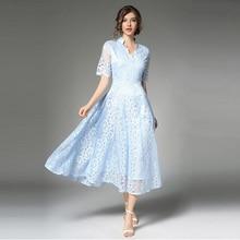 BONJEAN Light Blue Lace Women Elegant Long Plus Size Maxi Dress Evening  Party c48d2d975e51