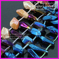 Polished Titanium Quartz Cut Nugget Points Beads,Blue/Purple/Orange Quartz Crystals Agate Stick Drilled Slab Beads Pendants