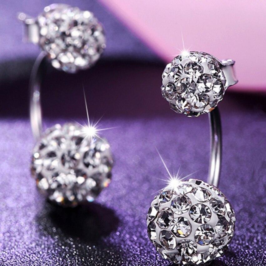 Kadın Lüks Shambhala Crystal Ball Saplama Küpe Moda Gümüş - Kostüm mücevherat - Fotoğraf 3