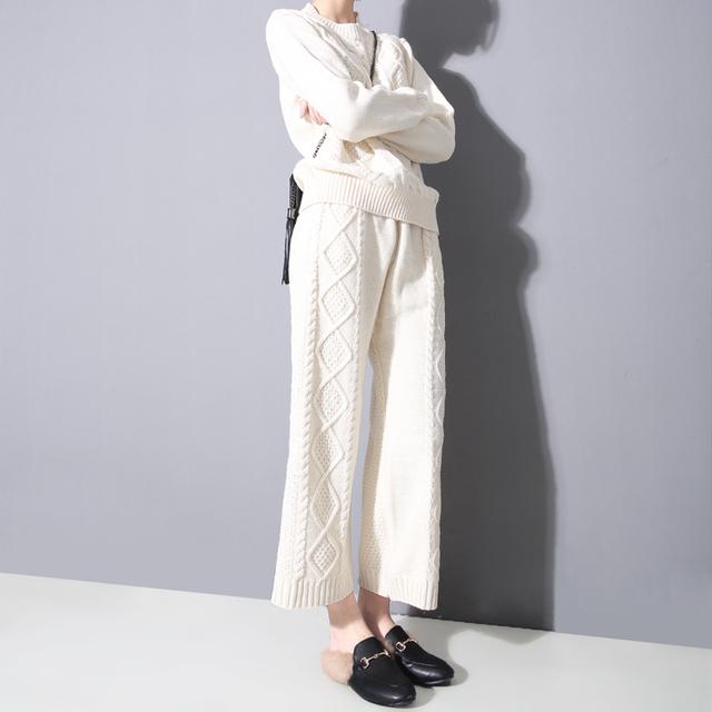 [Soonyour] 2017 primavera A nova listagem Moda Retro padrão de cannabis grosso knit tops + calças wide leg 2 conjuntos