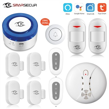 SMARSECUR  wifi Security alarm siren WiFi Smart Siren Tuya Smart Wrok with 433Mhz Sensors smarsecur home wifi security alarm siren wifi smart siren tuya app smart home