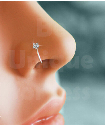 Small Thin 5 Crystal Design Diamante Nose Ring Earringhoop Stud