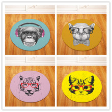 Animal wearing glasses Round Tapete For Living Room Bedroom Home Decor Carpet Rug Children Kids Soft Play Mat(China)