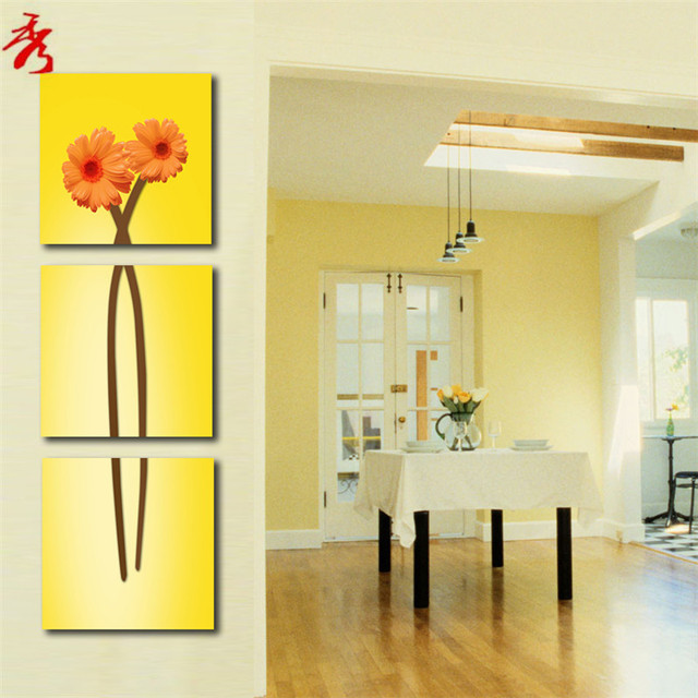 Abstract art orange Chrysanthemum Canvas Printing Painting Home ...