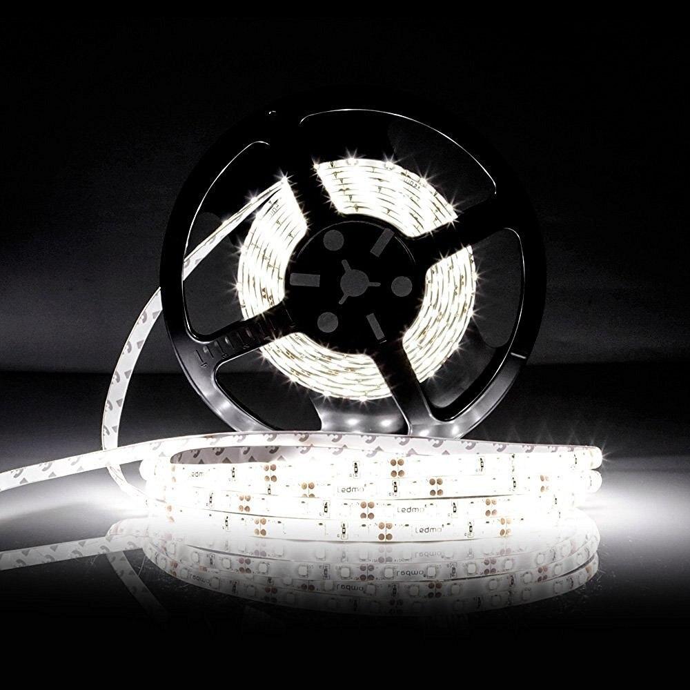 Elastīgs Led Strip Light 600LEDs ūdensnecaurlaidīgs LED joslas lampa Balts / silts balts Led Super Briaght 5m lente mājām un dārzam