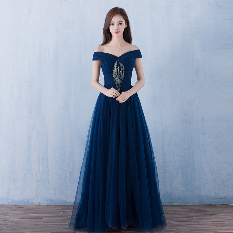 Tulle Evening Dresses Sexy Boat Neck A-line 2019 Vestidos Tulle Navy Formal Party Dresses